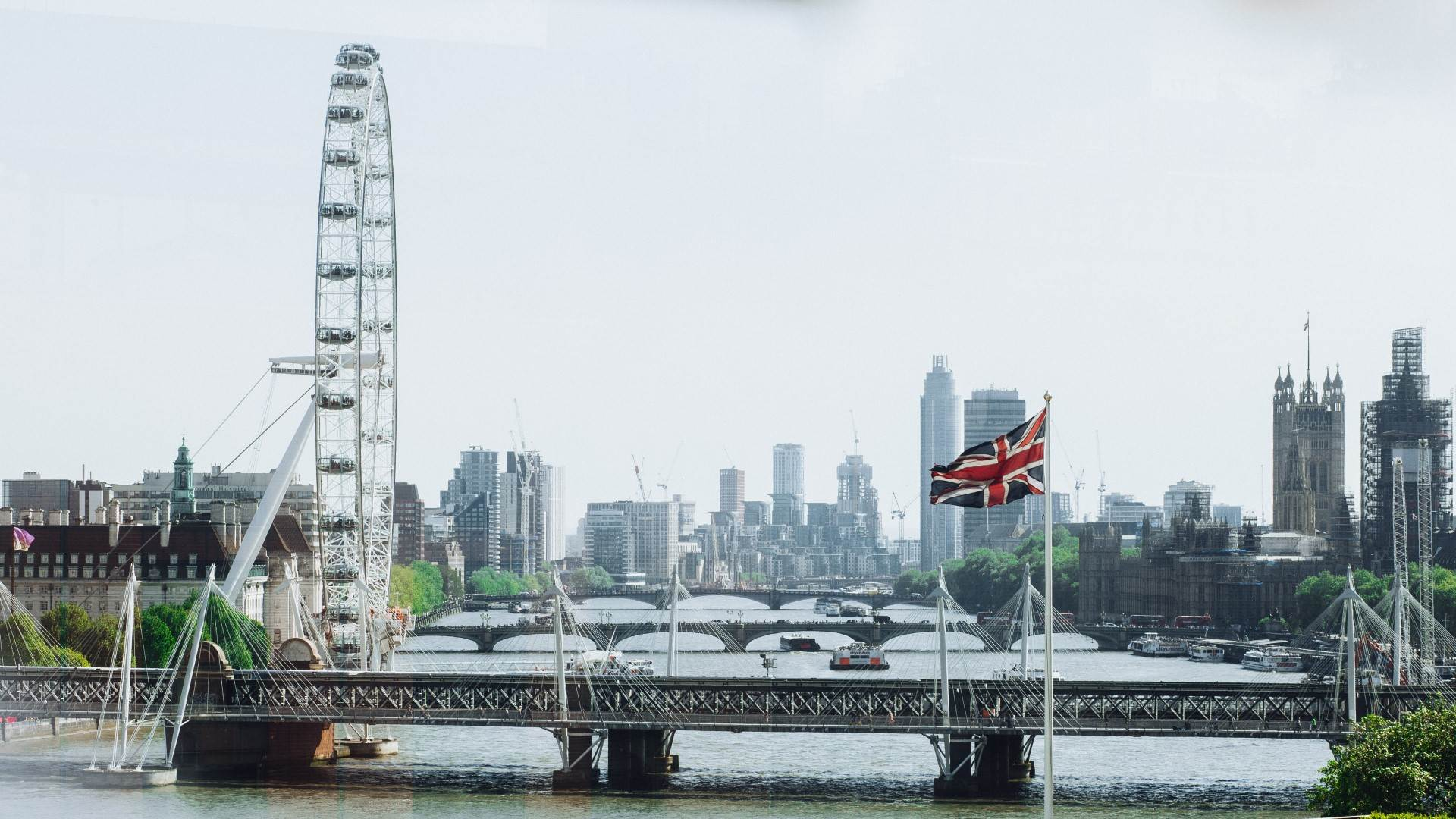 Britse vlag en London Eye